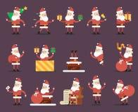 Conception plate réglée par icônes de nouvelle année de Santa Claus Cartoon Characters Poses Christmas Photos stock