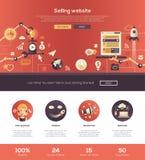 Conception plate vendant la bannière début de site Web avec des éléments de webdesign illustration de vecteur