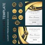 Conception professionnelle de certificat avec l'illustration de vecteur d'insigne illustration stock