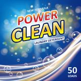 Conception propre d'annonces de bannière de savon de puissance Calibre coloré de détergent de blanchisserie Poudre à laver ou paq illustration de vecteur