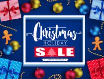 Conception réaliste d'affiche de vente de vacances de Noël avec 3D le cadre, Ginger Man Photographie stock