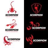 Conception réglée d'art de scorpion de vecteur rouge de logo Image stock