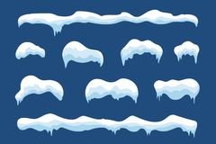 Conception réglée d'hiver de glaçon de glace de neige Calibre bleu blanc de neige Décoration de cadre de Milou d'isolement sur le illustration libre de droits