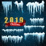 Conception réglée d'hiver de glaçon de glace de neige Calibre 2019 de neige de Noël Décoration de cadre de Milou d'isolement sur  illustration libre de droits