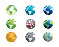 conception réglée d'illustration d'icône de globe de la terre Photographie stock