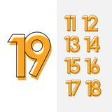 Conception réglée d'illustration de conception de calibre de vecteur du numéro 19 pour la célébration d'anniversaire illustration stock