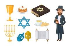 Conception religieuse de Hanoucca de symboles traditionnels d'église de judaïsme et torah hébreu de caractère de pâque de synagog illustration stock