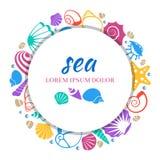Conception ronde de bannière de mer - concept coloré de coquillages illustration stock