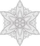 Conception ronde de dentelle de noir abstrait de vecteur dans la ligne style mono - homme Image stock
