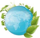 Conception ronde de nature avec la lame et le globe verts Image stock