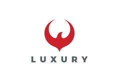 Conception rouge de logo d'abrégé sur oiseau pilotant Eagle Falcon Hawk Phoenix Images libres de droits