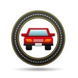 Conception rouge de manière de route de cercle d'avant de voiture illustration de vecteur