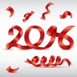 Conception rouge de vecteur des mots 2016 de ruban Photos stock