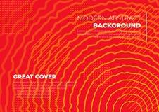 Conception rouge et jaune d'une circulaire onduleuse abstraite de modèle de couverture illustration stock