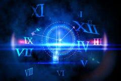 Conception rougeoyante bleue de technologie avec l'horloge Photographie stock libre de droits