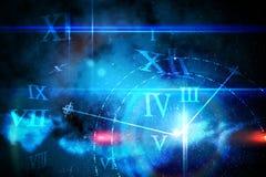 Conception rougeoyante bleue de technologie avec l'horloge Image stock