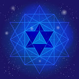 Conception sacrée de la géométrie avec le polygone sur le fond de l'espace et des étoiles Symbole magique, cristal mystique Graph Images libres de droits