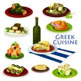 Conception saine d'icône de bande dessinée de nourriture de cuisine grecque Photos libres de droits