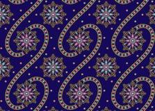 Conception sans couture d'ornement avec le fond bleu illustration stock