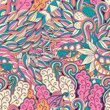 Conception sans couture de filigrane de mehndi Paisley, s'enroulant Image libre de droits