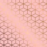 Conception sans couture de modèle avec les lignes et les cubes géométriques d'or sur le fond rose Photos libres de droits