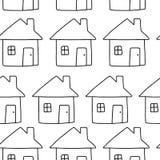 Conception sans couture de modèle d'icône de Chambre ou à la maison - dirigez l'illustration Image stock
