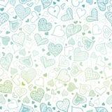 Conception sans couture de modèle de coeurs tirés par la main bleus de vecteur parfaite pour des cartes de jour du ` s de Valenti Images libres de droits