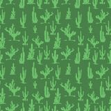 Conception sans couture de modèle de silhouettes vertes de cactus Illustration de Vecteur