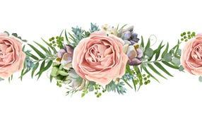 Conception sans couture florale de bouquet de modèle de vecteur : pêche de rose de jardin illustration de vecteur