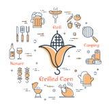 Conception simple des icônes de barbecue sur le blanc illustration libre de droits