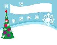 Conception simple pour l'offre de Noël des marchandises ou de l'insecte, paysage, avec un arbre décoré et des flocons de neige Image libre de droits