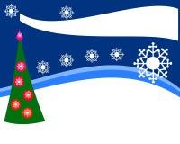 Conception simple pour l'offre de Noël des marchandises ou de l'insecte, paysage, avec un arbre décoré et des flocons de neige Images stock