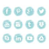 Conception sociale d'icône de media dans le thème bleu Photo libre de droits