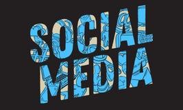Conception sociale de media avec les icônes relatives essentielles d'isolement d'objets et la ligne peu précise tirée par la main illustration libre de droits
