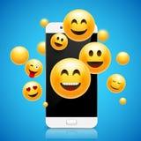 Conception souriante heureuse d'Emoji avec le téléphone portable fond d'illustration de concept de l'émotion 3d illustration stock