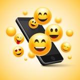 Conception souriante heureuse d'Emoji avec le téléphone portable illustration de concept de l'émotion 3d illustration de vecteur