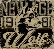 Conception sportive de rétro mascotte de loup complète Image libre de droits