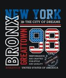 Conception sportive de typographie de New York Bronx Photos libres de droits