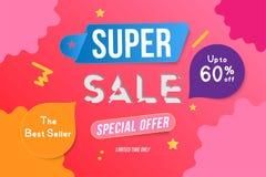 Conception superbe de calibre de bannière de couleur de vente avec les éléments décoratifs Grand special de vente jusqu'à 60  Off Illustration Stock