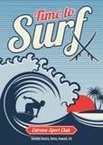 Conception surfante de vintage de vecteur de T-shirt d'Hawaï de vecteur illustration stock