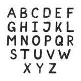 Conception tirée par la main d'alphabet Lettres grunges de style Photographie stock