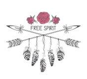 Conception tirée par la main de style de boho avec la fleur, la flèche et les plumes roses Décoration hippie de mode pour le T-sh illustration de vecteur