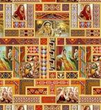 Conception traditionnelle sans couture avec des peintures illustration stock