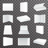 Conception transparente établie de papier de calibre de fond d'icône réaliste de moquerie de Front Top Isometric Open Closed de b Image stock