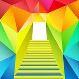Conception triangulaire colorée avec la porte d'escalier Images stock