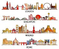 Conception triangulaire Londres, Singapour, Madrid, Rome illustration stock