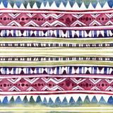 Conception tribale américaine Fond sans couture - modèle tribal Aquarelle peinte à la main photos stock