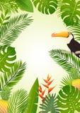 Conception tropicale d'été avec des palmettes, plantes tropicales, fleurs, ananas, toucan Illustration de vecteur Images libres de droits