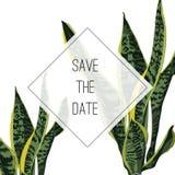 Conception tropicale d'invitation avec la plante verte jaune exotique illustration stock