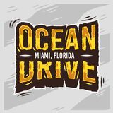Conception typographique d'été de Miami Beach la Floride d'entraînement d'océan Photos stock